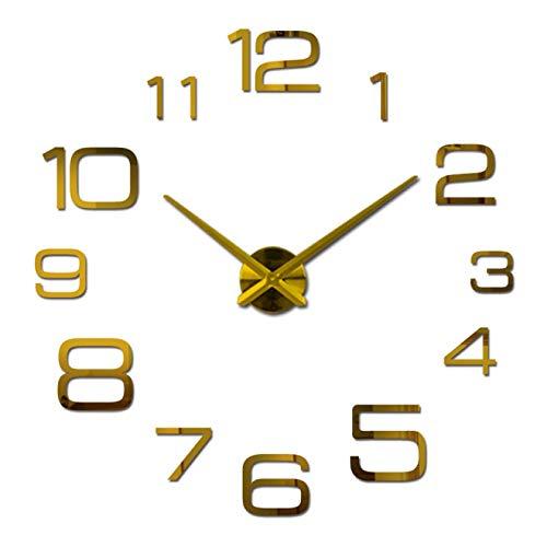 Aututer DIY Espejo de acrílico Reloj de Pared Grande Reloj de Cuarzo Reloj Moderno Sala de Estar decoración del hogar Plata número 3 Pegatinas |Reloj de Pared