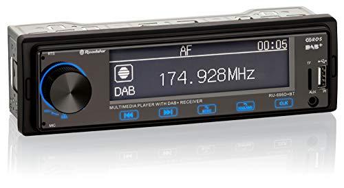 Roadstar RU-695D+BT Autoradio mit DAB und Bluetooth (DAB/DAB+ / FM/AM, Freisprech-Funktion, Fernbedienung, USB, TF Card, AUX In, Line Out, ISO Stecker), schwarz