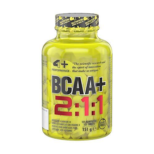 4+ NUTRITION - BCAA+, Integratore Sportivo, Aminoacidi a Catena Ramificata, Riduzione della Stanchezza e Affaticamento, 125 Compresse