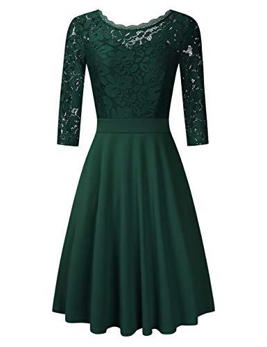 Clearlove Damen Kleider Elegant Spitzenkleid 3/4 Ärmel Cocktailkleid Rundhals Knielang Rockabilly Kleid(Verpackung MEHRWEG), Grün, S