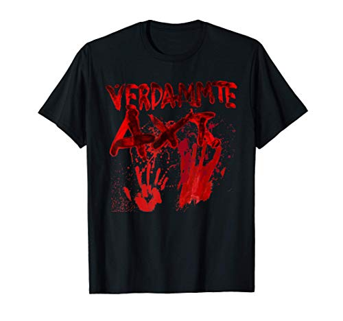 Horror Clown blutige Hände Blutspritzer Zombie verdammte Axt T-Shirt
