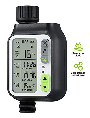 Homitt Temporizador de Riego Programable, Programador de Riego Jardín, con Función de Sensor de Lluvia, 3 Programas de Agua Separados, para Jardín, Césped, Sistema de Riego