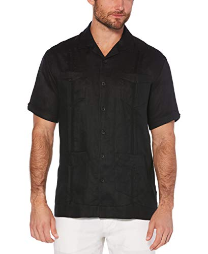 Cubavera Men's Short Sleeve 100% Linen Guayabera, Jet Black, XX Large