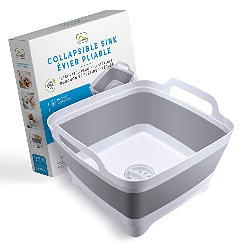 Home Spirit Collapsible Sink Portable Dish Pan Wash Basin Tub for Dish Fruits Vegetables Textiles Cloths Beverages Integrated Handle Plug and Strainer 9L Capacity