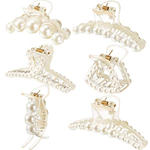 6 Pieces Artificial Pearl Hair Claw Clips Champagne Retro Hair Clamps Medium Small Non Slip Barrettes Decorative Hair Clips Hair Accessories for Women Girls, 6 Styles