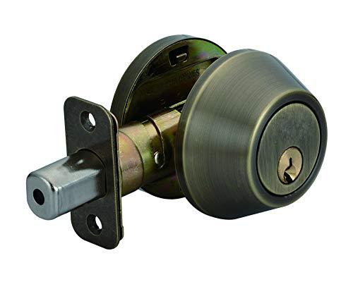AmazonBasics Deadbolt - Single Cylinder - Antique Brass