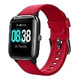 YONMIG Reloj Inteligente Mujer y Hombre, Smartwatch Impermeable IP68 Pulsera Actividad Deportivo con Monitor de Sueño, Pulsómetro, Pantalla Táctil Completa Reloj Fitness para Android y iOS (Rojo)