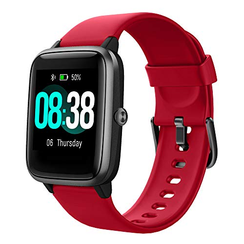 YONMIG Smartwatch, Fitness Armband Tracker Voller Touch Screen Uhr Wasserdicht IP68 Armbanduhr Smart Watch mit Schrittzähler Pulsmesser Stoppuhr Sportuhr Bluetooth für iOS Android Damen Herren (rot)