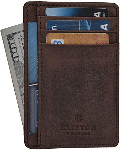 Clifton Heritage Leather Wallets for Men & Women - RFID Blocking Super Slim Minimalist Design Front Pocket Wallet (Small, Brown Hunter)