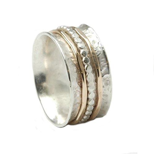 Tiljon Bicolor Ring 925er Silber mit drehbaren Schienen aus Silber und 375er Gold, ca. 0,8 cm breit (61 (19.4))