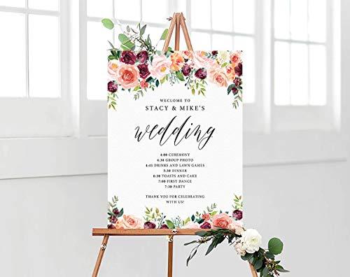 Letrero para boda con texto en inglés