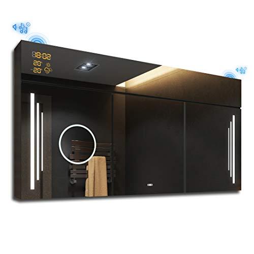 FORAM Spiegelschrank mit LED Beleuchtung Badschrank A++ | Schalter, WETTERSTATION, Bluetooth Lautsprecher, LED Uhr (Breite 100 cm & Höhe 72 cm, Anthrazit)
