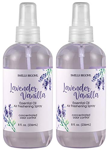 Smells Begone Essential Oil Air Freshener Spray - Odor Eliminator - Lavender Vanilla Scent (2 x 8 Ounce)