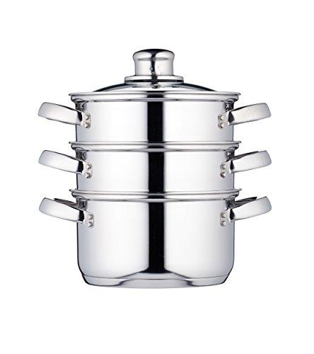 KitchenCraft Dampfgarerpfanne/Suppentopf mit 3 Behältern in Geschenkbox, Induktionssicher, Edelstahl, 16 cm
