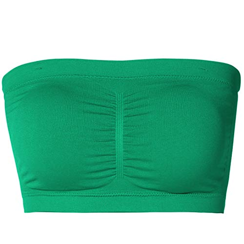 TheMogan Junior's Seamless Removable Pad Bandeau Layering Bra Top Kelly Green ONE Size