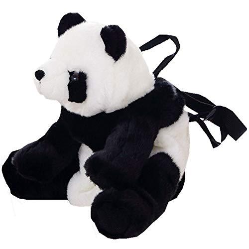 Liaiqing Panda Mochila for Regalos Muchachos de Las niñas de la Felpa de la Panda del Oso de Panda de los niños Mochila for niños pequeños Panda de Peluche de Juguete 14 Pulgadas Negro + Blanco