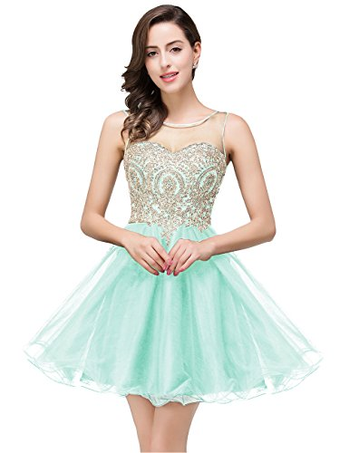 MisShow Women's Crystals Backless 2020 Homecoming Dresses Short Prom Gowns Mint Green 2