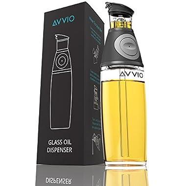 Avvio Olive Oil Dispenser Bottle - Leakproof Glass Oil Bottle– 17 Oz Glass Cruet No Drip Pourer Spout – Olive Oil Dispensing Bottle with Measurements for Olive, Cooking, Vegetable Oil Vinegar