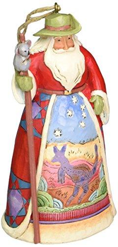 Jim Shore Heartwood Creek Ornamento suspenso de pedra de Papai Noel australiano, 12 cm