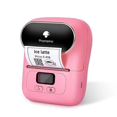 Phomemo M110 Etikettendrucker - Thermoetikettendrucker、tragbarer Etikettendrucker、Bluetooth-Verbindung,Geeignet für Büro, Barcode QR-Code,Transport, Kabel, Einzelhandel,Mit 1 Etikett 40 × 30 mm,Pink