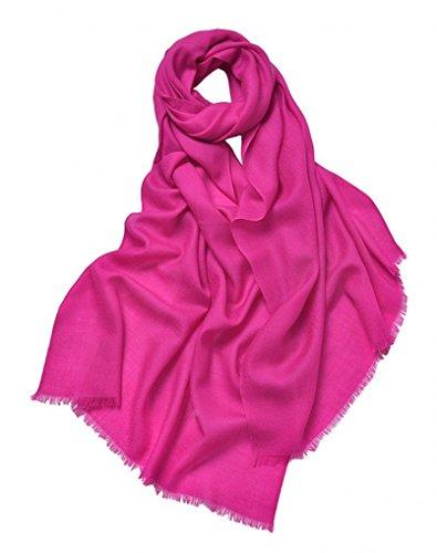 prettystern 100% Wolle Einfarbig Kurze Fransen Feine 80 Garn Pashmina Stola Damen-Schal - Pink