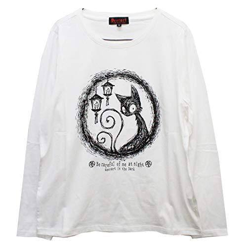 【Deorart ディオラート】コットン素材 ロングスリーブカットソー(ネコマタ 猫叉) DRT2517 (ホワイト,L)
