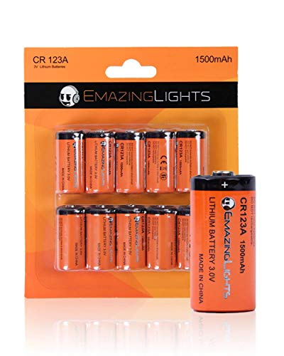 EmazingLights CR123A Batteries 3 Volt Lithium C Cell Flashlight Battery (10 Pack)