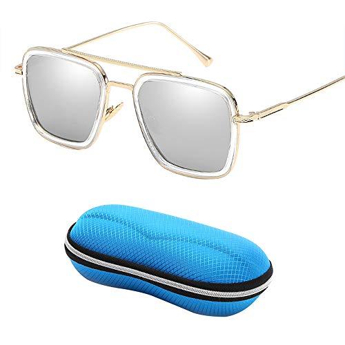 Gafas de sol polarizadas deportes HD,Iron Man con elegantes y coloridas gafas de sol cuadradas,gafas de sol antirreflejos antirreflejos de conducción,aptas para viajes/conducción/fiesta/playa/compra