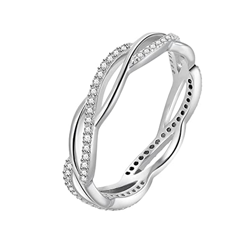 BORUO 925 Sterling Silver Ring, Twisted Infinity Celtic Knot Cubic Zirconia CZ Wedding Band Stackable Ring Size 7