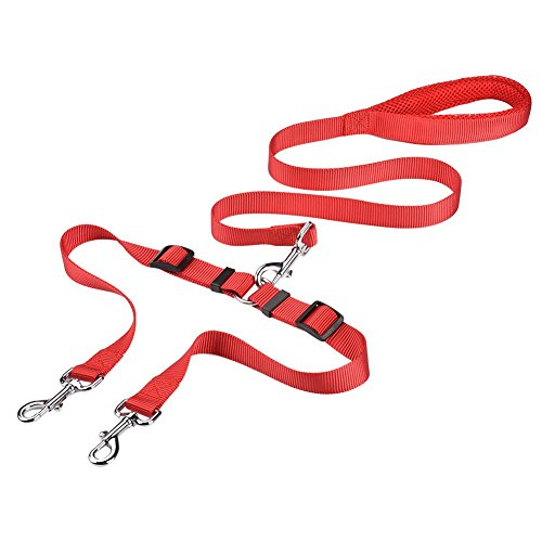 CtopoGo Doppel Hundeleine,Hunde Leine Doppelleine,1.4m Lang Doppel Haustier Hundeleine-Splitter,Zwei Hunde Walking/geflochtene Hundeleine für Zwei Hunde mittlere/kleine Hunde (Rot)
