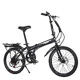 Inicio Equipos Deportes al aire libre Bicicleta plegable de 20 '' Engranajes de 6 velocidades Marco de acero al carbono Bicicleta compacta plegable para adultos Portaequipajes trasero y pata de cab