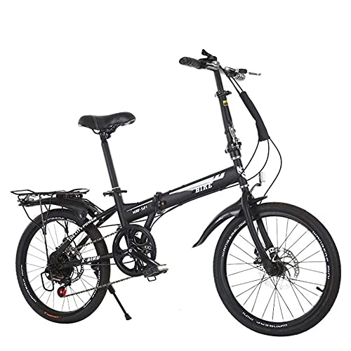 N/Z Home Furnishings Outdoor Sports 20\'\' Folding Bike 6 Speed Gears Carbon Steel Frame Foldable Compact Bicycle for Adults Rear Carry Rack And Kickstand Outdoor Sports Mountain Bike
