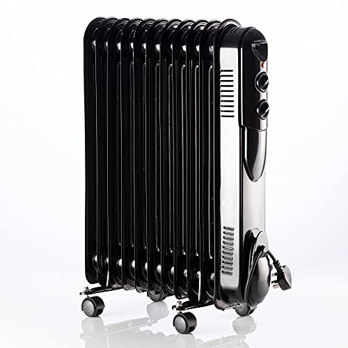 Daewoo 11 Fin Oil Filled Radiator HEA1818 2500W Portable Electric Heater With Dial Control Adjustable Temperature 3 Power Settings Black…