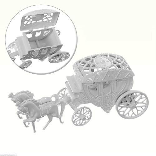 Deko Figur Hochzeitskutsche zum öffnen und befüllen weiß Hochzeitsfigur Kutsche als Tortenfigur Hochzeitsgeschenk Hochzeitsgastgeschenk