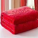 OQQE 12 Colores en Relieve Manta de Franela Jacquard sofá/Aire/Ropa de Cama Manta Color sólido Doble Cara cálido Suave para Cama 200x230cm, Rojo, 120cmx200cm