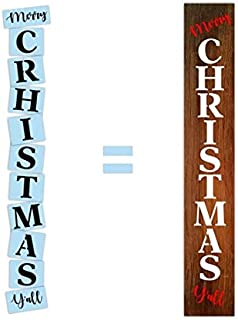 Merry Christmas Y'all Stencil for Painting Wood Porch Signs, Reusable, Sturdy & Thick, by Barn Star