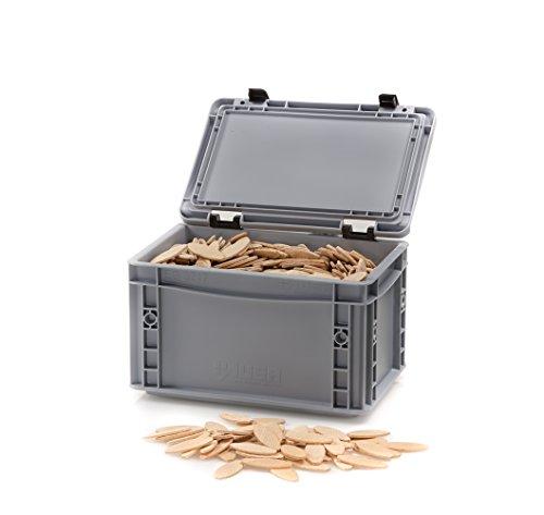 Flachdübel Größe 20 von WFix | 1000 Stück | Buchen Dübel in Eurobox | Kompatibel mit Dübelfräse & Lamellofräse | Holzdübel wie Lamello 20