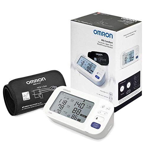 OMRON - Oberarm-Blutdruckmessgerät, M6 COMFORT HEM-7360-E, IntelliWrap-Manschette 22-42 cm, Intellisense-Technologie, Klinisch validiert, AFib, Blutdruck und Puls, Batterien und Tasche