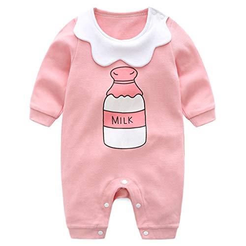 Minizone Monos infantil del bebé de los mamelucos Niños Onsises algodón de manga larga Sleepsuit para Bebé-Niñas 6-9 Meses Botella de Leche