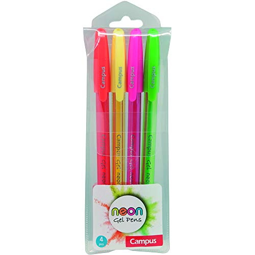 Bolsa de 4 Boligrafos Campus Trigel Neon. Colores surtidos