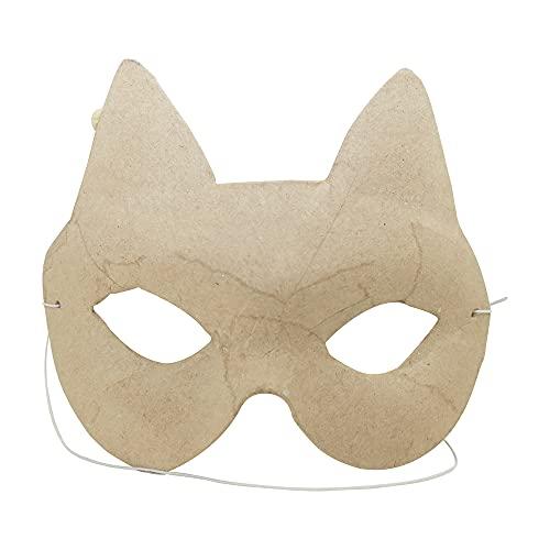 Décopatch AC457O Maske Karneval Katze für Kinder aus Pappmache kartonbraun