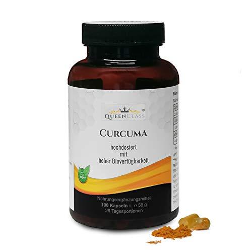Curcuma 100 Kapseln (curcumin) von QueenClass - Kurkuma Extrakt Hochdosiert, vegan, ohne Zusatzstoffe - hergestellt in Deutschland