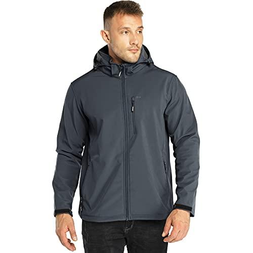 33,000ft Chaqueta de softshell para hombre, resistente al agua, cortavientos, forro polar cálido, chaqueta funcional para exteriores, para senderismo, ciclismo, camping, gris oscuro, XXL