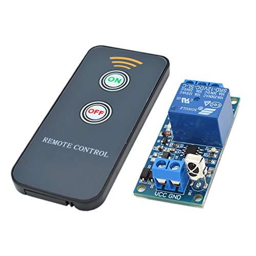 F Fityle Módulo de Relé de Control Remoto por Infrarrojos de 1 Canal Interruptor de Infrarrojos (5V / 12V / 24V) - 1-ch 12v 2 Llaves