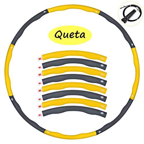 Queta Hula Hoop Fitness Desmontable 1kg, Hula Hoop Fitness Adultos Niños con 8 Sección, Esponja Extraíble Equipment con Cuerda de Saltar Hula Hoop para Deportes & Ejercicios (Amarillo)