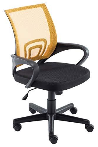CLP Bürostuhl Genius mit Netzbezug | Höhenverstellbarer Drehstuhl mit Laufrollen und Armlehne Gelb