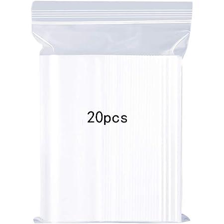 meridy Sacchetti in plastica Trasparente risigillabili, Robusta Borsa con Chiusura a Zip Riutilizzabile, Ispessimento e Durevole, premere per chiudere con Chiusura, 35x45cm Applicare 20PCS (Large)