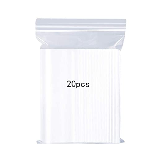 """Resealable Clear Plastic Bags Sealed Storage Pouches Thickening Durable Press Seal Bags,Apply to Kitchen Storage,Office Stationery Storage Bag,Reusable Shopper Bags13.8x17.7""""(35x45cm)20PCS (Large)"""