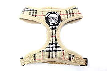 Twinkle & Mogly - Harnais Veste pour Chien pour Les Petites Races de Chiens Mignons modèle Carreaux en Beige ou Rose avec ou sans Laisse Beige M