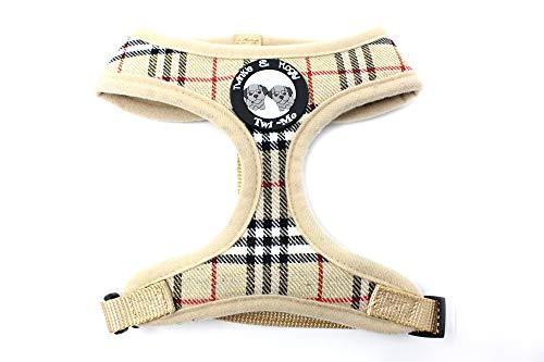 Twinkle & Mogly - Hundegeschirr mit Karomuster Brustgeschirr für kleine Hunderassen niedlich in Beige oder Rosa - Beige XS